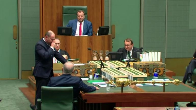 An Australian government minister was tested for COVID-19 after having a brief coughing fit while giving a speech in parliament about the country's coronavirus response