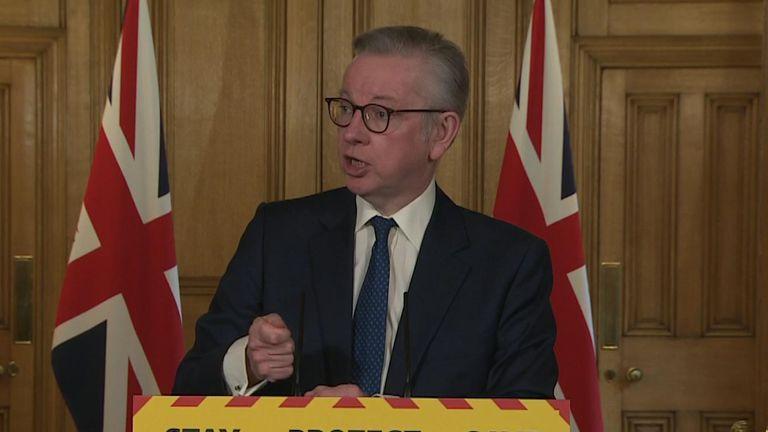 Michael Gove at govt presser.