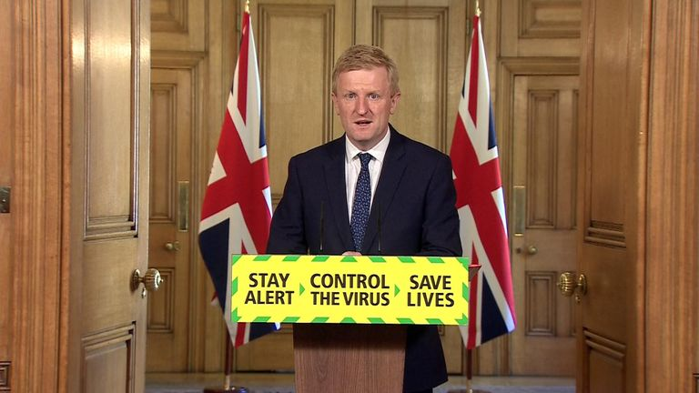 Culture Secretary Oliver Dowden delivers the government's daily coronavirus press briefing