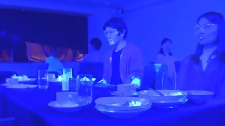 The 'virus' had spread to everybody's plates, glasses and many of their faces. Pic: NHK