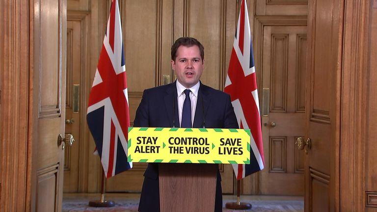 Housing secretary Robert Jenrick leads the government's daily coronavirus press briefing