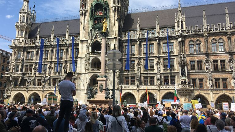 Protesters gather to demand a total end to the coronavirus lockdown , in Munich