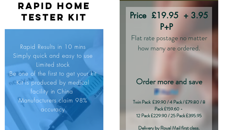 One of the adverts offering a fake testing kit