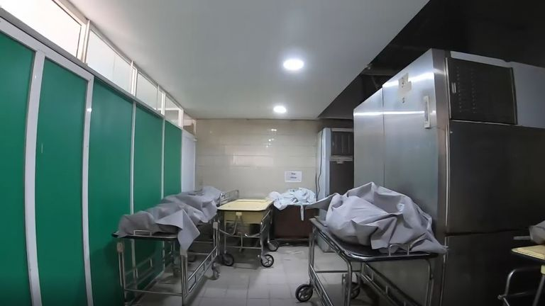Bodies cover every available surface in this hospital morgue