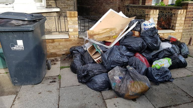 Undated handout photo showing fly tipping in Ealing, London as the UK continues in lockdown to help curb the spread of the coronavirus