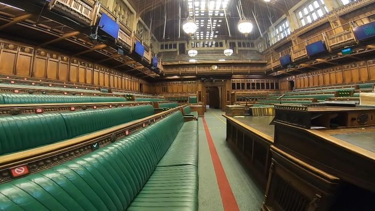 Sky News was granted access to the House of Commons while it was virtually empty to film the social-distancing measures in place