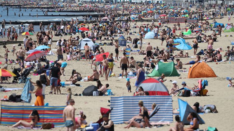 PABest People enjoy the hot weather on Bournemouth beach in Dorset, following the introduction of measures to bring the country out of lockdown.