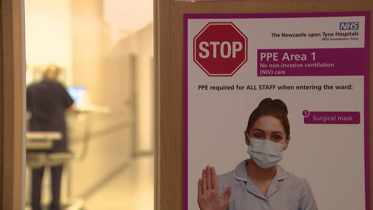 PPE sign in newcastle hospital