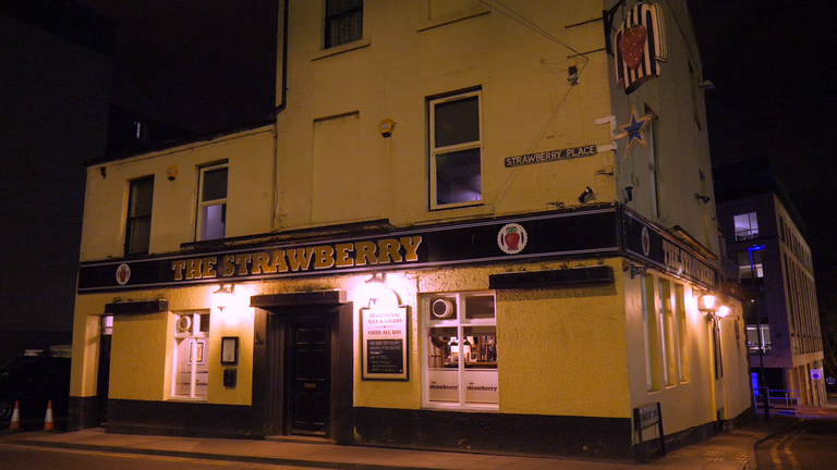The Strawberry pub opposite Newcastle United's football ground - all quiet as people stay home because of the virus