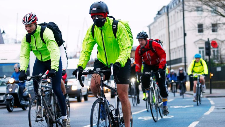 Cyclists commuting during an underground strike in London