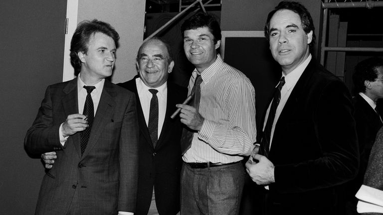 Dave Thomas, Ed Asner, Fred Willard and Robert Klein at the Vic Theater in Chicago in 1979