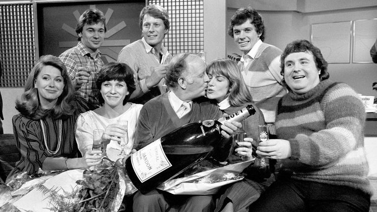 Icke (top right) when he was a TV presenter in 1983
