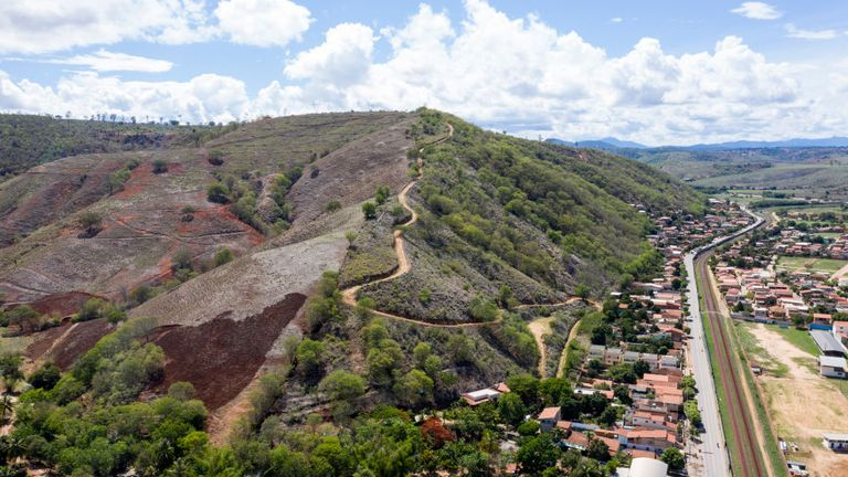 A deforested hill in Brazil