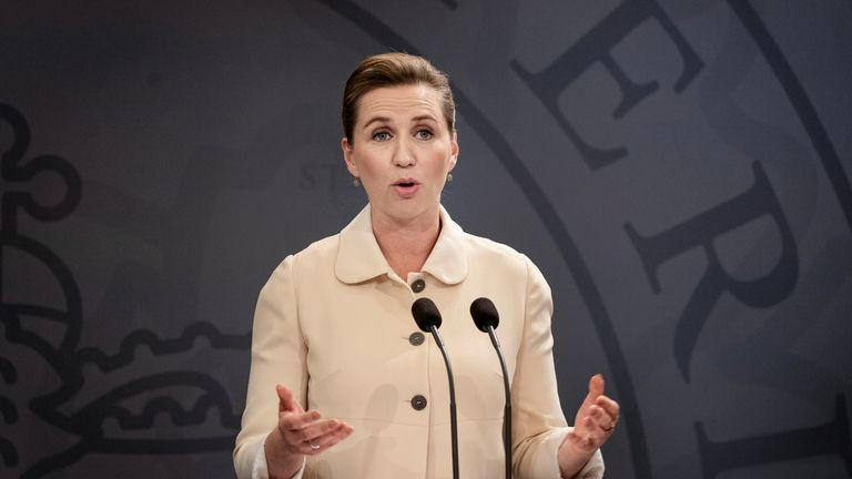 Danish Prime Minister Mette Frederiksen speaks during a news conference in the Prime Minister's Office about the lifting of travel restrictions