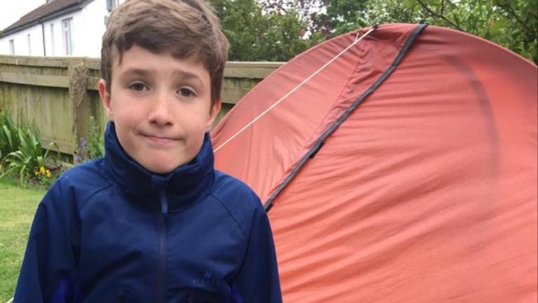 Max Woosey, 10, has been camping out in his garden since 28 March