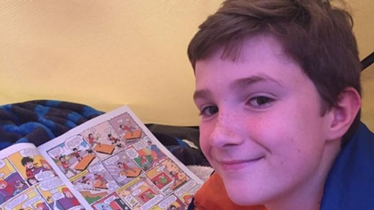He only needs his Beano comics, a torch and teddy at night, his mother Rachael says