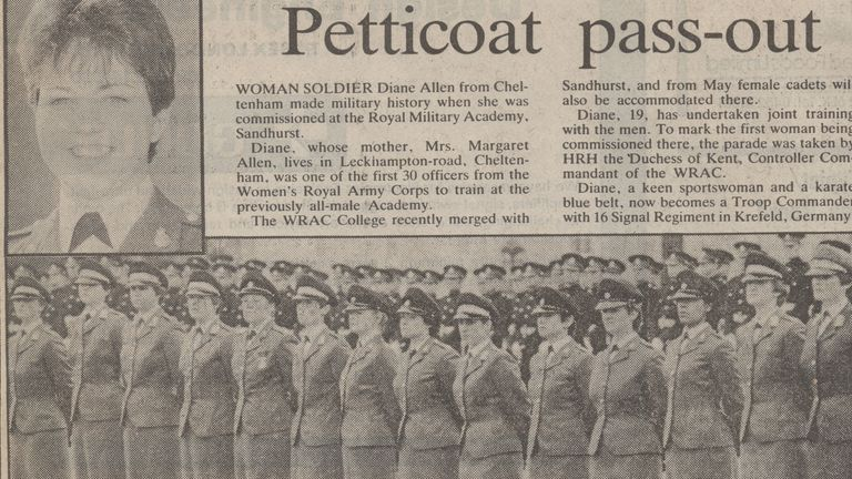 An example of the sort of sexist headline she was subject to when she passed out of Sandhurst