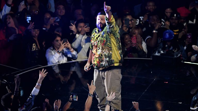 DJ Khaled performs during halftime at the 69th NBA All-Star Game at the United Center on February 16, 2020 in Chicago, Illinois