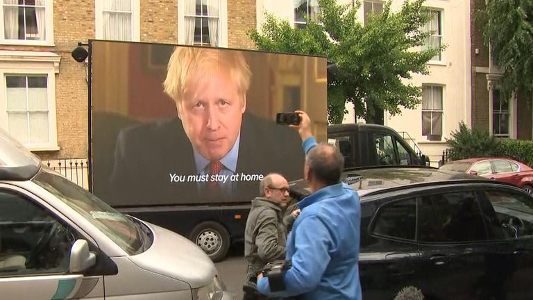 A van has turned up outside Dominic Cummings's house in north London and is playing news clips and a video of Boris thanking the public for their sacrifice.
