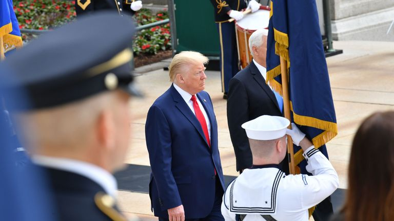President Trump took part in a wreath-laying ceremony at Arlington National Cemetery in Virginia