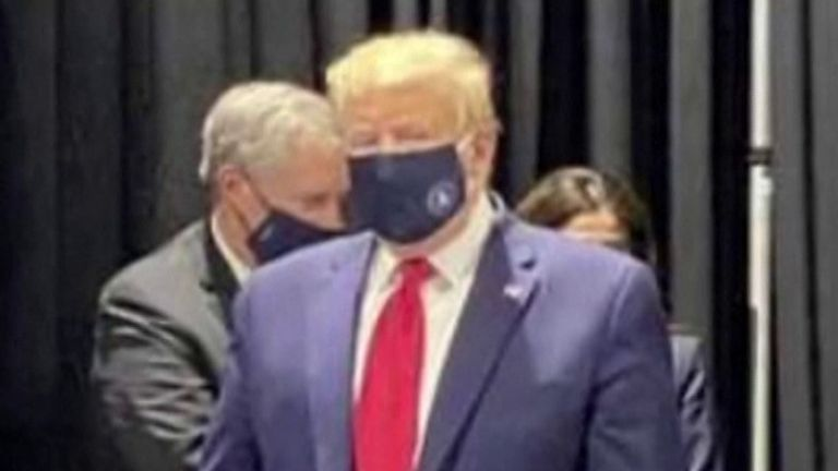 Coronavirus: Donald Trump seen wearing a face mask on visit to ...