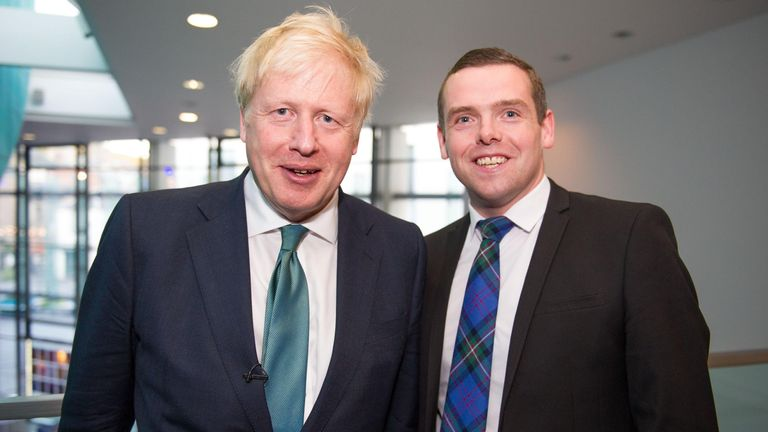 Perth, UK. 5 July 2019. PICTURED: Boris Johnson MP (left) and Douglas Ross MP (right) Conservative leadership contenders Boris Johnson and Jeremy Hunt are to face Scottish party members at a hustings event in Perth. The hustings in Perth is the latest in a series of events around the UK which see the two candidates make a speech to local members before taking questions from a host and the audience. Party members should receive their ballots in the coming days, with the winner to be announced on
