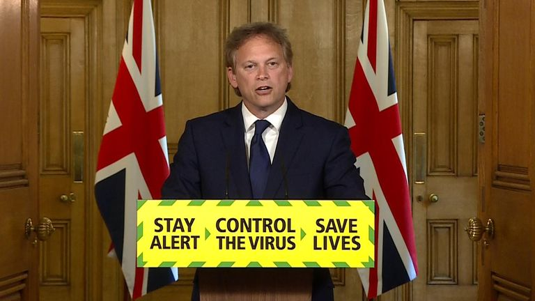Grant Shapps at government presser