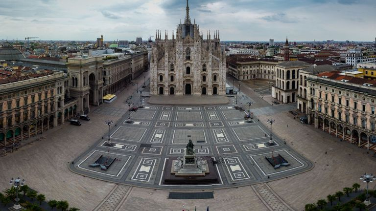 Piazza del Duomo is deserted due to corona restrictions on April 30, 2020 in Varese, Italy