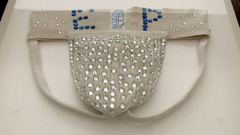 The rhinestone-studded jockstrap was made for Elvis by a fan and he is believed to have worn it several times