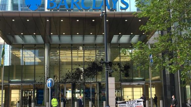Activists targeted the Barclays HQ and sprayed 'fake oil' ahead of the AGM. Pic: Extinction Rebellion