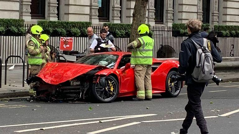 Ferrari collision. Pic: @DickiesTicker