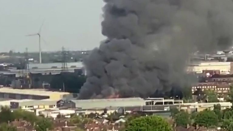Fire rages at a warehouse in Barking, London