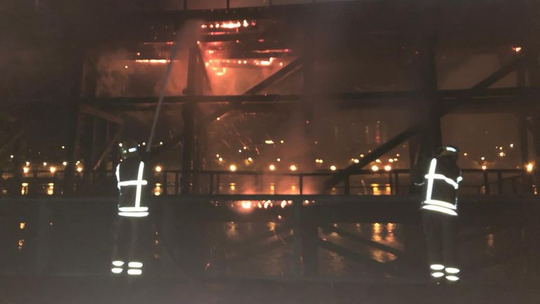 Police are treating the fire at Dunston Staiths, Gateshead as arson