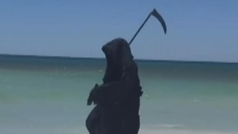 A man dressed as the Grim Reaper paid a visit to beaches in Florida to protest their reopening amid the COVID-19 pandemic.