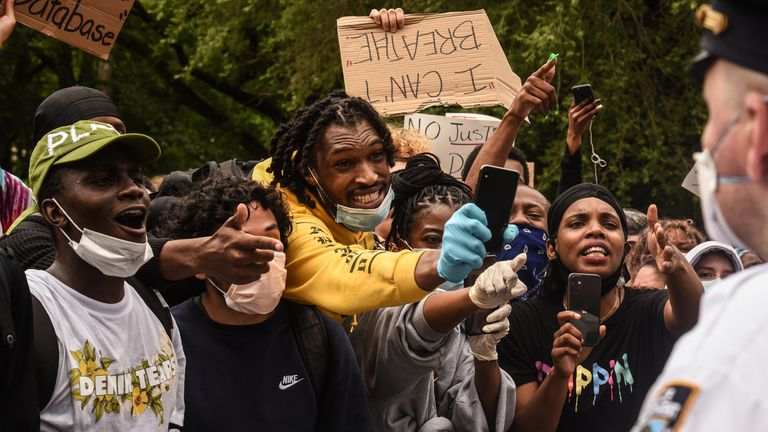 Protesters clash with police during a rally against the death of Minneapolis, Minnesota man George Floyd at the hands of police on May 28, 2020 in Union Square in New York City