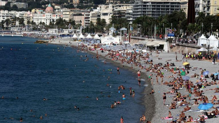 Carras beach in Nice, south France, packed in August 2016