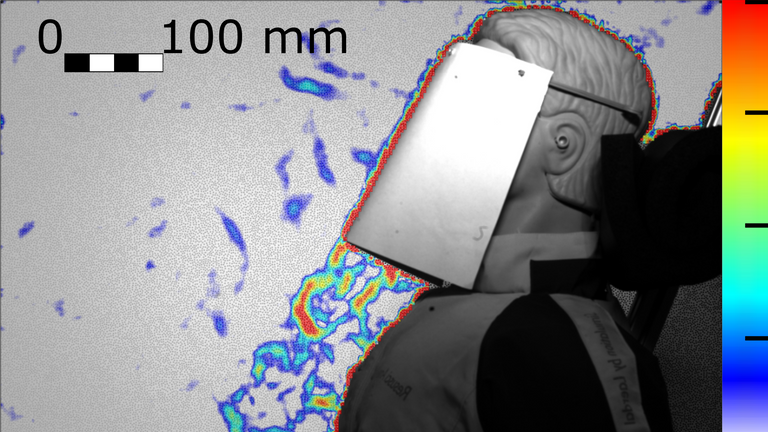 Without a mask, full-face shields generated 'a strong downward' jet. Pic: University of Edinburgh