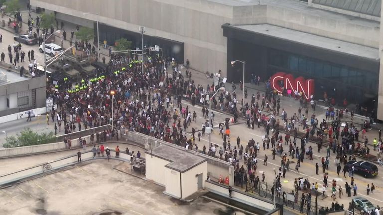 protests over George Floyd death outside CNN headquarters Atlanta