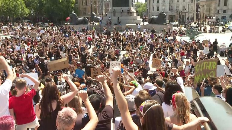 Thousands gather in Trafalgar Square in solidarity of those protesting against the killing of George Floyd