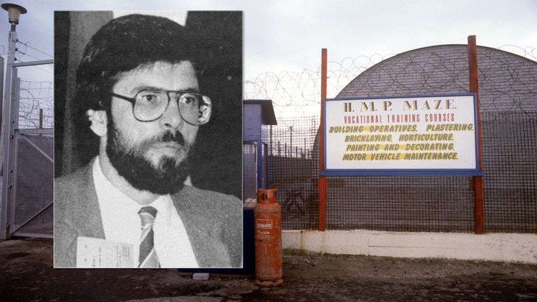 the entrance to Compound 7 at the Maze Prison (formerly Long Kesh), near Belfast, Northern Ireland.