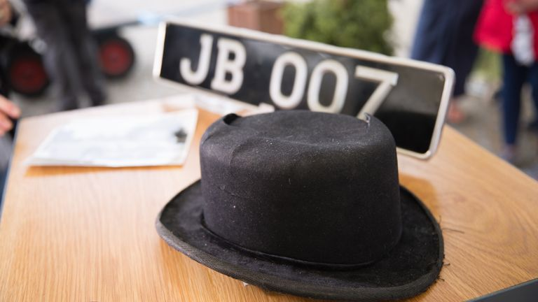 Undated BBC handout photo of a battered bowler hat from 007 film Goldfinger that was valued at up to £30,000 on the Antiques Roadshow. The steel-rimmed hat and weapon belonged to hitman Oddjob (Harold Sakata) in the 1964 film.
