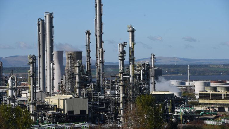A general view is pictured of the Grangemouth Refinery complex on the Firth of Forth in Grangemouth, Scotland, on April 21, 2020