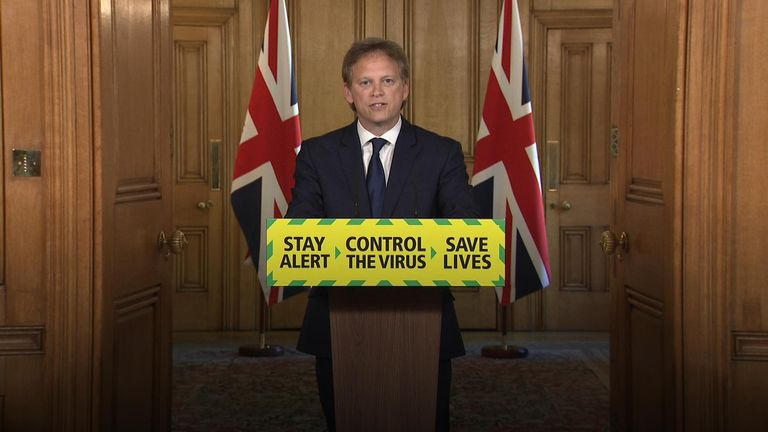 Transport Secretary Grant Shapps delivers briefing