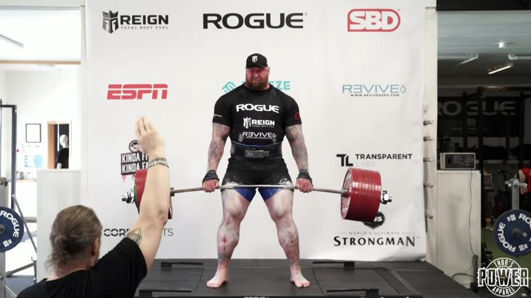 Bjornsson lifted the 501kg weight two metres off the ground