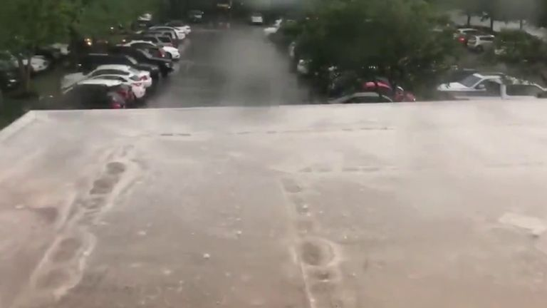 Extreme hail bounces off building in Arkansas