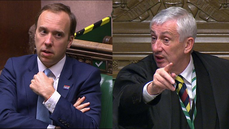 The Speaker takes exception to the health secretary interrupting Labour leader Sir Keir Starmer during PMQs in the Commons.