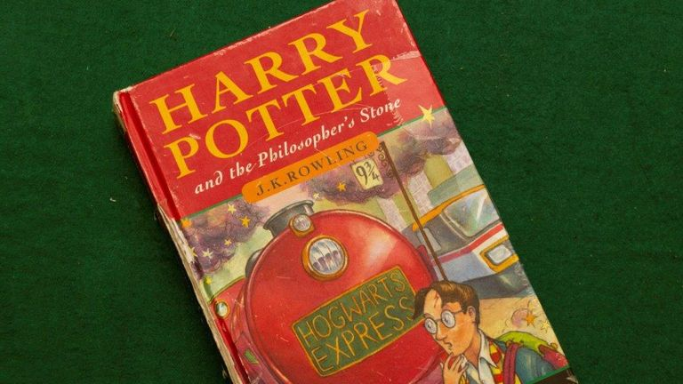 The hardback version of Harry Potter and the Philosopher's Stone that sold for more than £30,000. Pic: Hansons