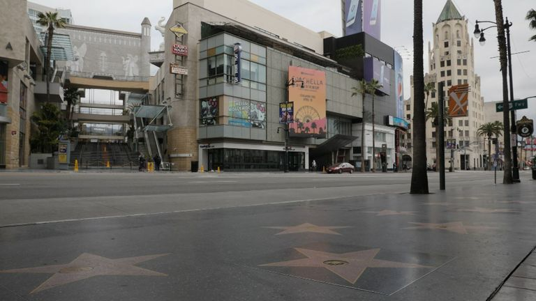 A deserted Hollywood Boulevard during the coronavirus lockdown