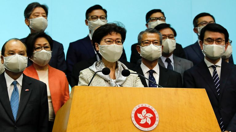 Kong Chief Executive Carrie Lam wearing a face mask due to the coronavirus