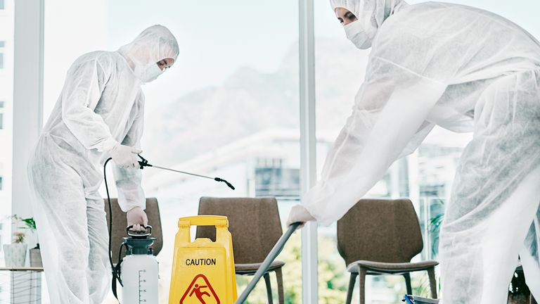 Hospital cleaners. File pic
